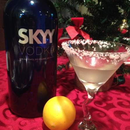 A holiday cocktail favorite, this peppermint-rimmed limoncello was the hit at my holiday party.
